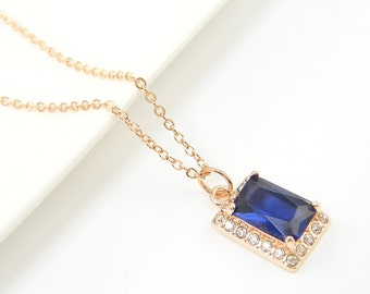 Rose Gold Sapphire Necklace, Navy Blue Pendant Necklace, Gold Sapphire Necklace CZ September Birthstone Jewelry with Rose Gold Chain |BJ1-16