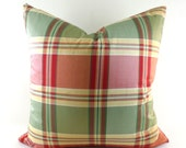 Pillow Covers ANY SIZE Decorative Pillow Cover Pillows Home Decor  Silk Plaid Green Red