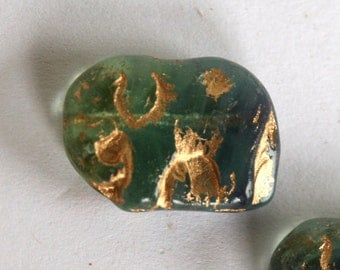 4 Lovely Elephant Czech Teal Beads with Bronze Definition