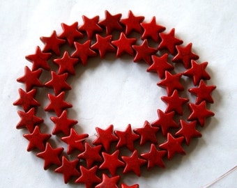 12 mm Red Star Turquoise, Magnesite Beads