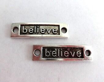 2 Antique Silver and Black Believe Connectors/Links - CS-0022
