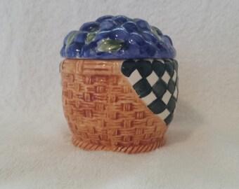 On Sale 20% Off Use Coupon in the Description - Vintage Blueberry Jam Pot