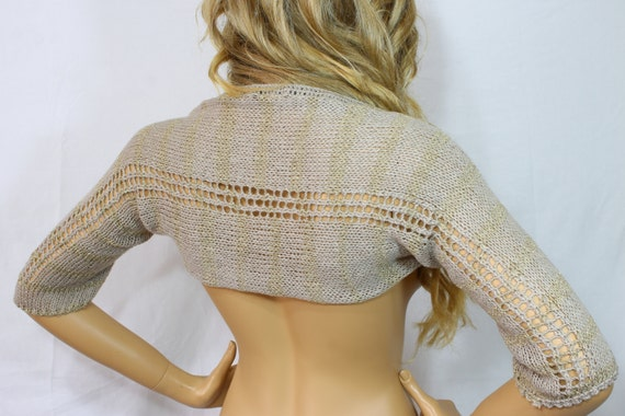 Knitted Wedding Gifts: Beige Gold Shrug Bridal Shrug Evening Shrug Wedding Shrug