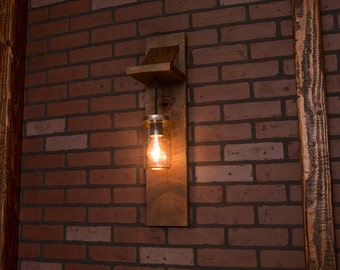 Mason Jar Lighting With Reclaimed Wood and 1 Pendants. R-SCONCE-CMJ-1