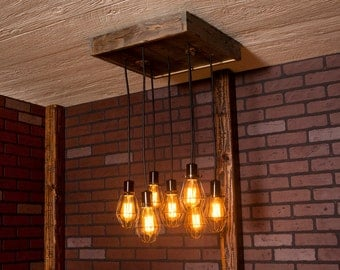 Industrial lighting, Industrial Chandelier, Antique Brass With Reclaimed Wood and 7 Pendants. R-1818-AC-7