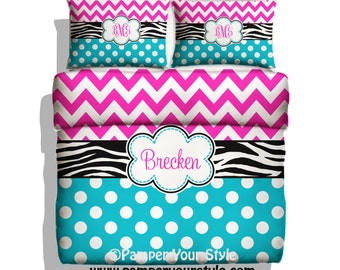 Zebra, Polka dot and Chevron Duvet Cover with Shams - Personalize with Name or Monogram - Hot Pink, Turquoise, Black and White Bedroom