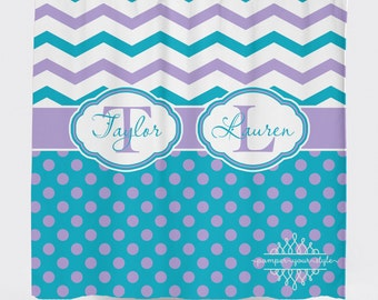 Custom Designed Polka Dot and Chevron-Turquoise and Purple Shower Curtain, Boys and Girls Bathroom, Personalized, Create and Design Your Own