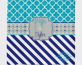 Custom Designed Quatrefoil, Stripes - Aqua and Dark Blue Shower Curtain, Boys and Girls Bathroom, Personalized, Create and Design Your Own