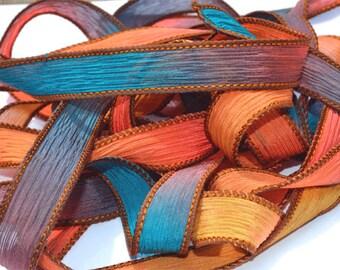 County Fair 42 inch hand dyed silk ribbon// Silk Wrist wap Bracelet Ribbons//Silk Ribbon//Silk Yoga Wrap Bracelet Ribbons//By Color Kissed