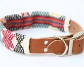 """Large 1"""" Leather Dog Collar with Vintage 60's Textile Woven Sleeve // LIMITED EDITION"""