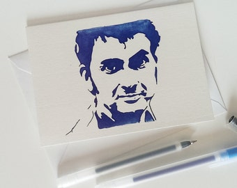 David Tennant - Matt Smith - Peter Capaldi - Tom Baker - Colin Baker - Doctor Who - Time Lord - The Doctor - Pack Of 12 - Greetings Card