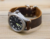 Leather Watch Strap Horween Leather Burnt Redwood Polished Hardware