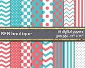 Digital Paper - Teal, coral, white, blue, green, orange, dots, polka dots, chevron, stripes, checker, paper pack, scrapbooking 14