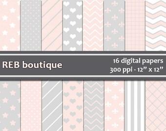 Digital Paper - Pink and gray, white, pastel, dots, chevron, stars, hearts, stripes, grid, fleur de lis, paper pack, scrapbooking 11