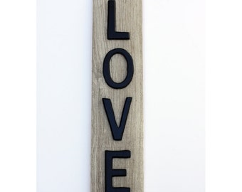 LOVE Sign on Reclaimed Wood with Dimensional Letters