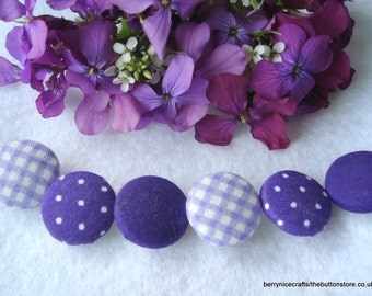 Handmade Fabric Buttons 19mm Purple Mix Buttons Pack of 6 Purple Buttons