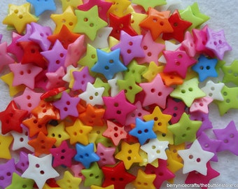 Pack of 50 Mixed Size and Colours Star Shape Buttons Star Buttons Star1