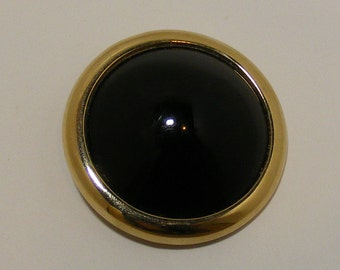 Vintage SIGNED Donald Stannard Statement Brooch with Black Lucite Cabochon