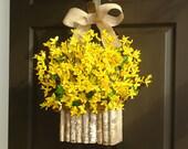 spring wreath Easter wreath forsythia wreath front door hanger decorations wall decor birch bark vase wreath
