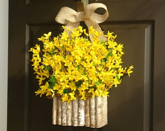 spring wreath Easter wreath forsythia wreath front door hanger decorations wall decor birch bark vase wreath