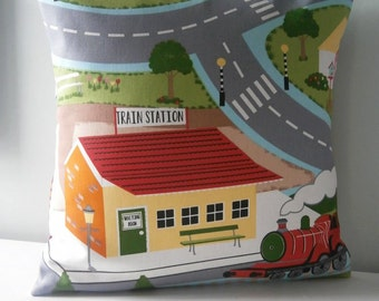 Train Station kids road map Pillow cover