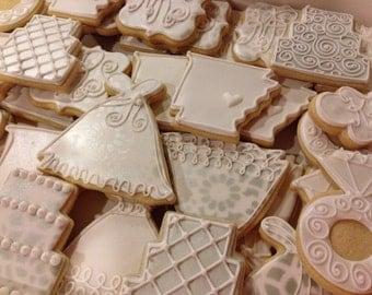 Handmade Wedding Decorated Sugar Cookies-1 dozen