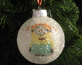 """NEW!! Despicable Me's one eyed girl minion with pig tails glass glitter ornament from the movie """"Despicable Me"""""""