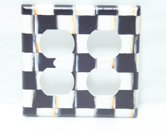 Hand Painted Black and White Check Checkerboard Switchplates, Double, Beth Baker Artist