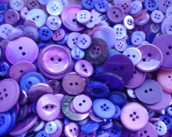Purple Sewing Button Mix 5 to 30mm
