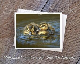 Wildlife Note Cards - Bird Note Cards - Mallard Duckling Image - Duckling Prints - Wildlife Prints - Bird Prints - Wildlife Stationary