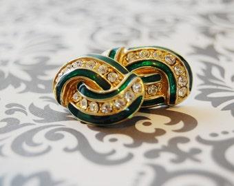 Beautiful Vintage Green Enamel and Rhinestone RUNWAY Earrings