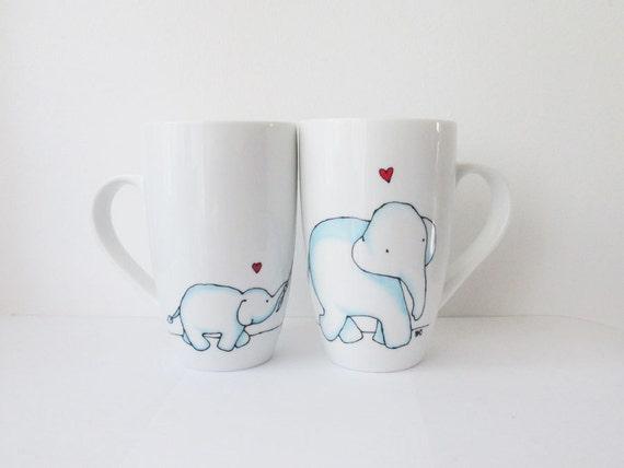 La main peint porcelaine th tasse caf avec des l phants - Tasse a cafe personnalisee ...