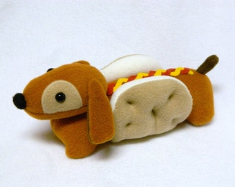 Stuffed hot dog toy plush dachshund