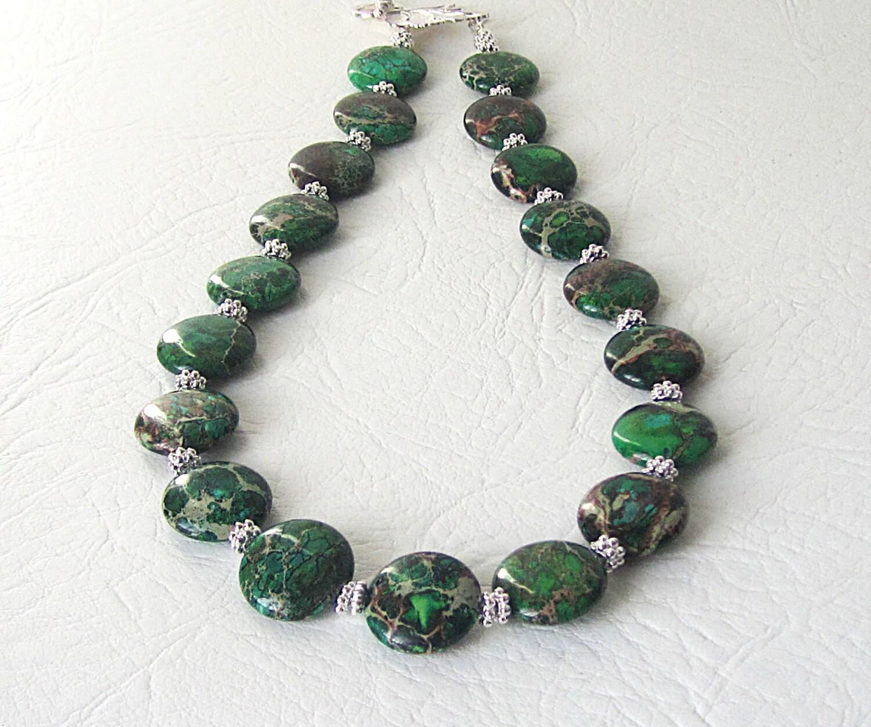 Web Jasper Beads Gemstone Green Round 14-15MM  |Green Jasper Jewelry