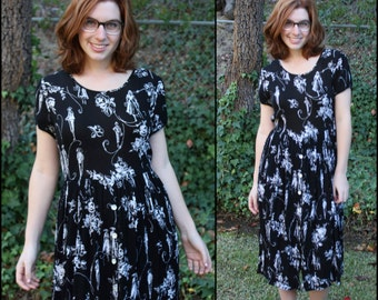 Black Maxi Dress (With Sleeves) Printed Button Down Tie Back