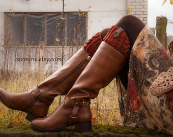 Boot socks, Rust Boot Cuff with leather and wooden button, Cable Knit Boot Topper, Faux Leg Warmers, Merino, Boot toppers, Boot cuffs