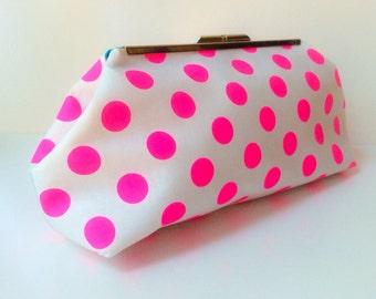 Neon Pink Polka Dot Clutch
