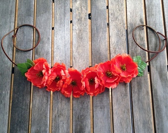Handmade Flower Crown on leather lace - Garden of Eden Collection