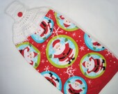 Christmas Tea Towel Santa Claus With Crocheted Topper For Hanging