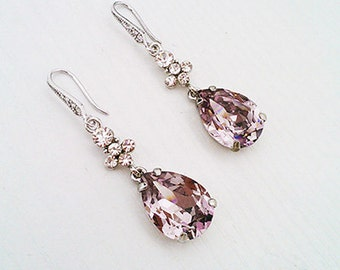 Lavender Amethist Crystal Earrings, Bridal Jewelry Earrings, Tear drop Wedding Earrings, Purple Crystal Earrings
