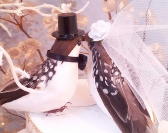 black and white polka  dots  on brown feathers love birds wedding cake topper