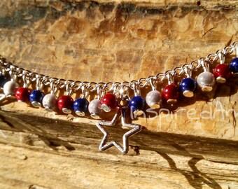Patriotic memory beads star charm Anklet