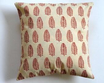 block print Pillow -Fren Print throw pillow in 16x16 Spring cushion cover