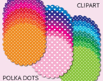 Digital tag, digital frame, tag clipart, frame clipart, polka dot frame, polka dot clipart, polka dot digital frame, scallop clipart