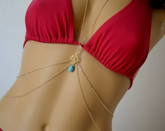 Gold body chain with turquoise gemstones - Beach jewelry - Body necklace - Fashion jewelry - Trendy accessories