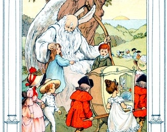 Father Time and Children - Art by F.D. Bedford (1905) from Old Fashioned Tales.  - Print or Decal - Vintage Art