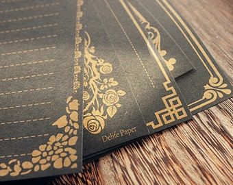 8 Sheets Vintage Style Gold Printing Black Writing Paper - Stationery - Letter Paper - Brown Paper - Filofax