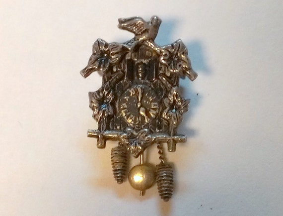 Vintage sterling silver coo coo clock charm from yellowstone park - Coo coo clock pendulum ...