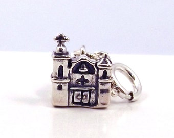 Sterling Silver Adobe Church Charm-Fits European and Traditional Charm Bracelets - 1511