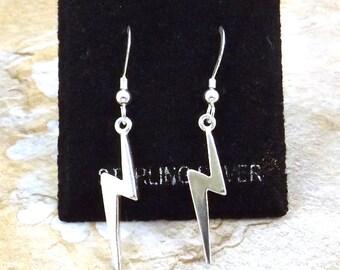 Sterling Silver Lightning Bolt Dangle Earrings on Sterling Silver French Hook Ear Wires - 3254